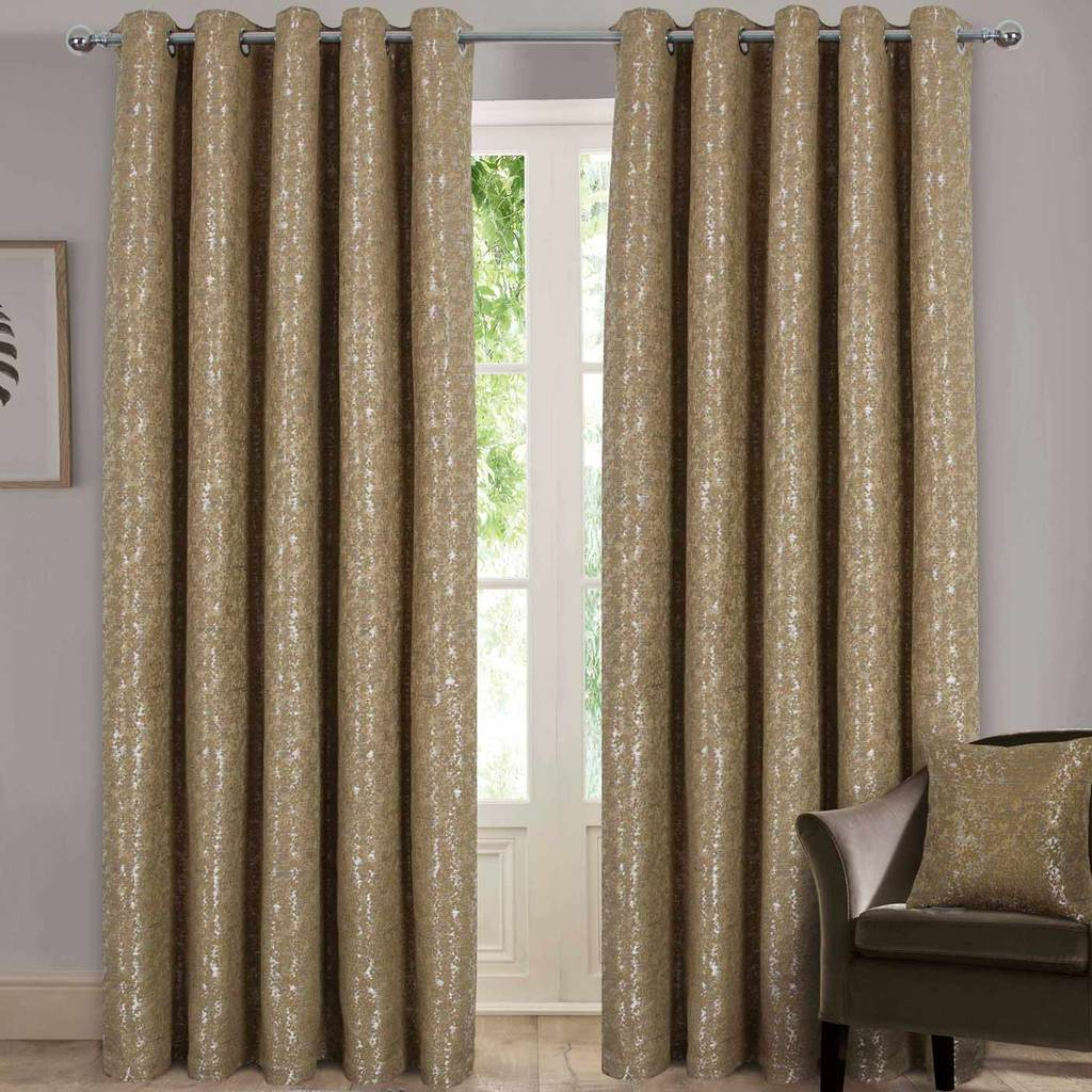 Metallic Fully Lined Eyelet Curtains - Gold - Luxury Curtains Direct